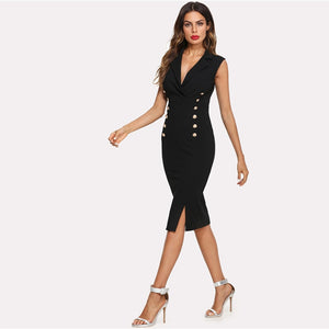 Notched V Neck Double Button Sleeveless Pencil Knee-Length Skinny Sexy Workwear