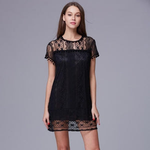 Sexy Women Casual Sleeveless Beach Short Solid Lace Dress