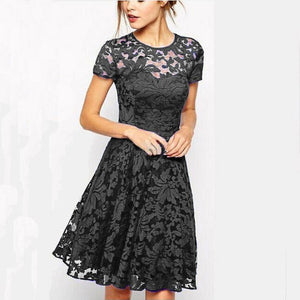 Women Elegant Sweet Hallow Out Lace Sexy Princess Slim Summer Dress