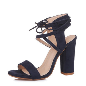 High Heel Gladiator Sandals  Ankle Strap Square Heels Sexy Cross Strap  Shoes