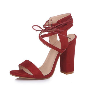 High Heel Sandals For Women Ankle Strap Summer Square Heels Shoes