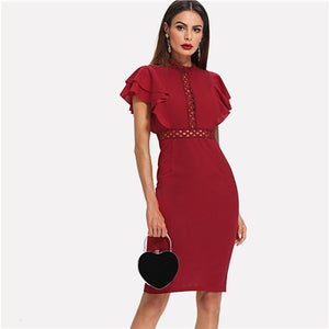 Red High Waist Vintage Ruffle Sleeve Lady Bodycon Dress Lace Eyelet Hem Slit