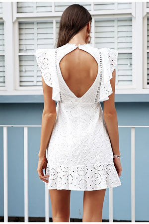 Embroidery Cotton White Ruffle Sleeve High Waist Short Dress Female Vestidos