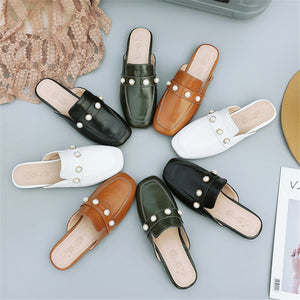 Women Slippers Simple Elegant Pearl Square Toe Fashion Shallow Summer Mules Shoes