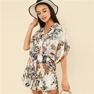 V Neck Short Batwing Sleeve Loose Beach Mini Dress Tropical Botanical Print Belted