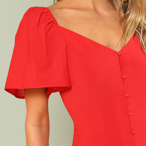 V Neck Elegant Workwear Shift Plain Bishop Sleeve Button Up Women Dresses