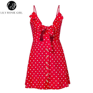 Short Sexy Backless Spaghetti Strap Beach Dot Bow V Neck Dress Vestidos