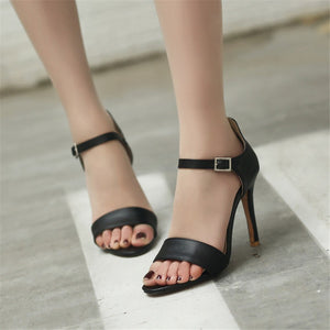 Women Sandals Spring Summer Classic Buckle Sexy Thin Heels Party Shoes Peep Toe