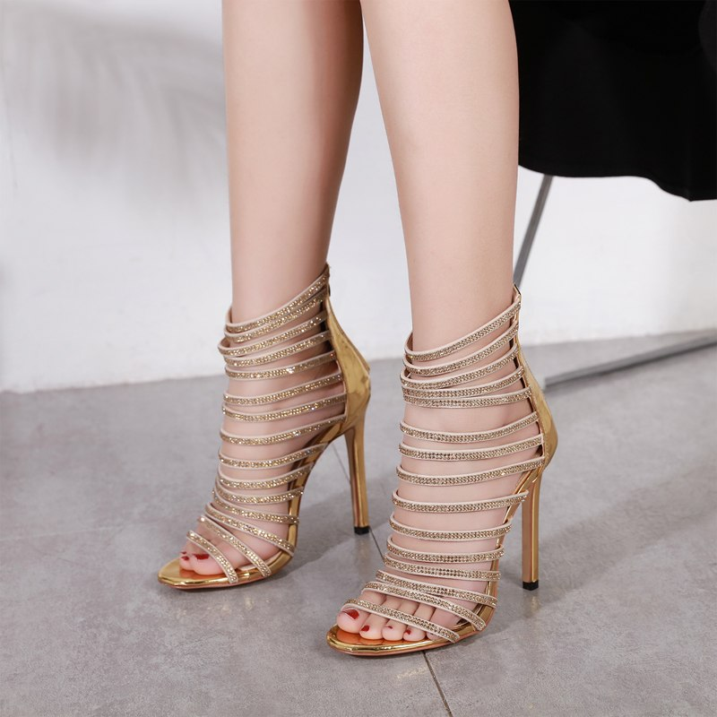 Sexy Gold Shoes Women Stiletto Sandals High Toe Ladies Heels Gladiator Open F3JTKl1uc