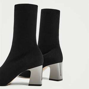Fashion Ankle Elastic Sock Boots Booties Pointed Toe Pump Black