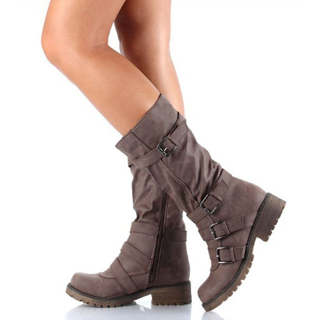 Women Leather Suede Wedge Mid Calf Thigh High Winter Boots