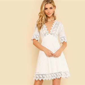 Lace Trim Eyelet Embroidered  White Deep V Neck Half Sleeve Cut Out Plain Dress