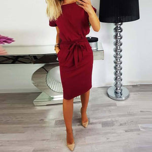 Women Knee-length Vestido Casual Bodycon Robe Batwing Short Sleeve Dress