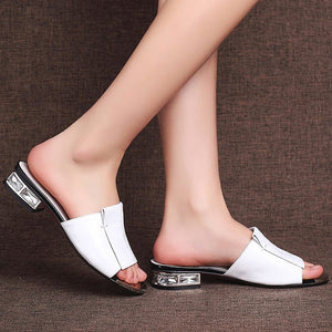 Genuine Leather Square Low Heel Summer Gladiator Sandals Women Shoes