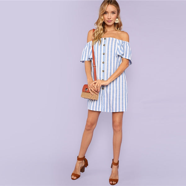 Bohemian Beach Striped Off Shoulder Button Up Short Sleeve Tunic Dress Casual