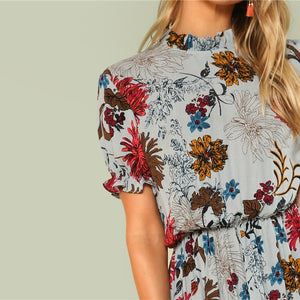 Ruffle Cuff Mock Neck Floral Stand Collar Dress Summer Women Weekend Casual