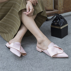 New Style Mules Woman Genuine Leather Shoes Outside Pointed Toe Summer Flat Sandals
