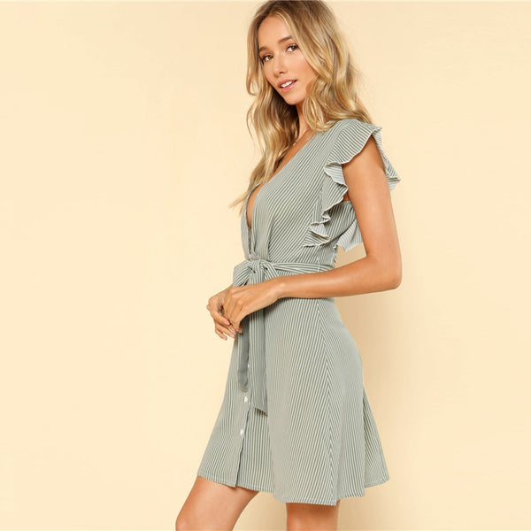 Bohemian Beach Ruffle Armhole Button Front Belted Striped High Waist Casual Dress