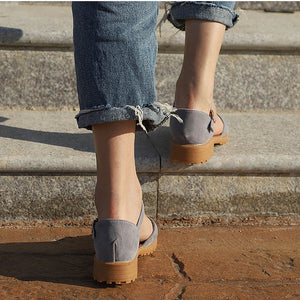 Women Sandals Flock Buckle Strap Flats Female Shoes