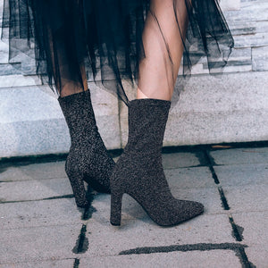 Autumn Spring Stretch Fabric Women Sock Boots Fashion Pointed Toe Shoes