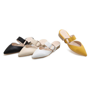 Women Sandals Pointed Toe With Buckle Square Heel Sweet Dress Shoes