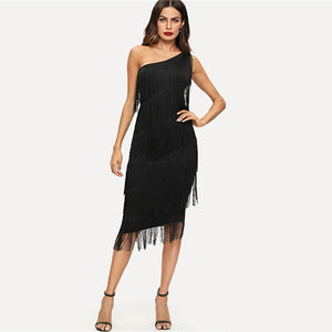 Black Solid Sleeveless Tassel Slim One Shoulder Tiered Fringe Bodycon Party Dress