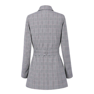 Women Autumn Long Plaid Blazers Jacket Outwear