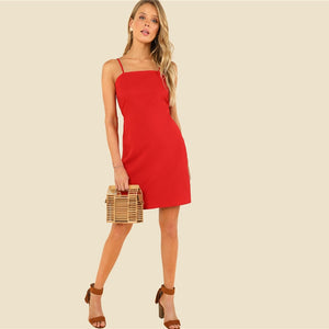 Knot Back Solid Cami Party Sleeveless Knot Red Dress Strap Women