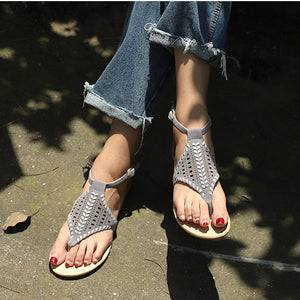 Woman Sandals Flat Cut Outs Flip Flops Summer Beach Casual Shoe