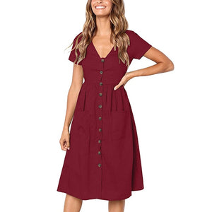 Women A Line V Neck Solid Polyester Knee Length Pockets Dress