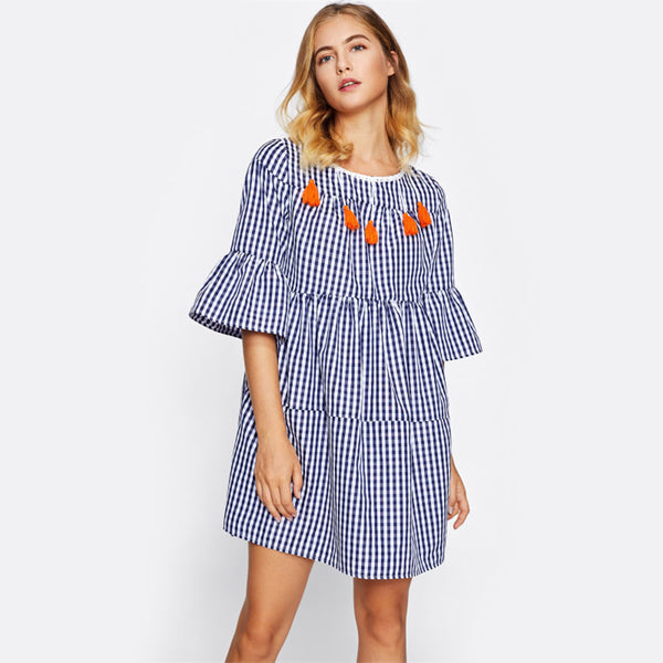 Open Back Tiered Gingham  Blue Plaid Straight Boho Dress Half Sleeve Drop Waist Short