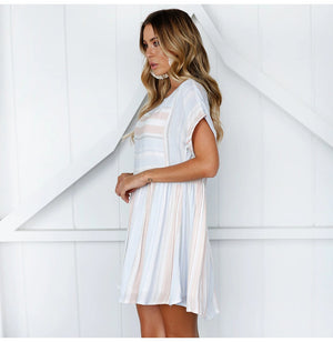 Summer Casual Women Short Sleeve Draped Striped Loose Beach Dress