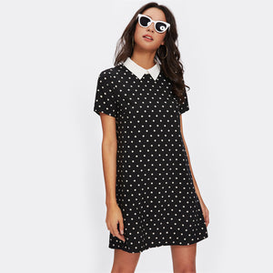 Polka Dot Dress Womens Black and White Short Sleeve Casual Summer