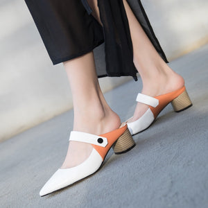 Genuine Leather Sandals Women Square Heel Pointed Toe Mixed Color High Heels Shoes