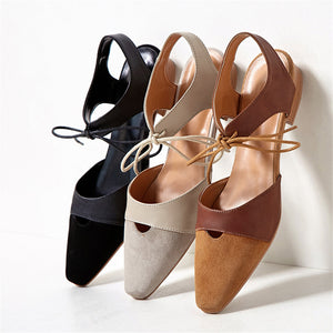 Genuine Leather Casual Women Sandals Pointed Toe Elegant Low Heels Shoes