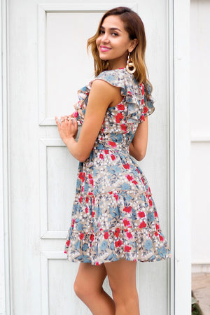Sleeveless Ruffle V Neck Waist Mini Dress Streetwear Chic Floral Boho Dress