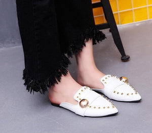 Black Rivet Mules Slippers Flats Slip On Loafers Leather Slippers Women Shoes