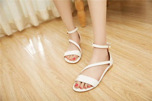 Summer Sandals With Buckle Cover Heel Flat Casual Mature Female Shoes