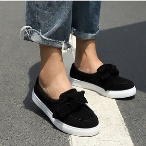 Women Loafers Plus Size Slip On Bowtie Flat Shoes Casual Bowknot