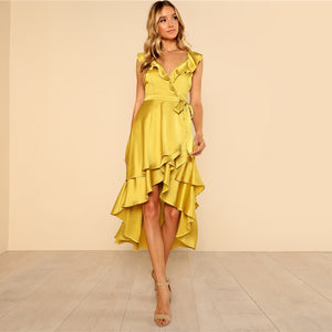 Crisscross Backless Tiered Ruffle Dip Deep V Neck Satin Backless Belt Sexy Dress