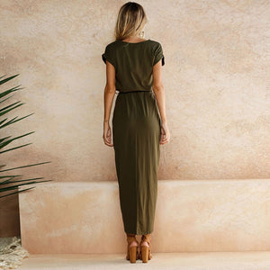 Short Sleeve Split Hem Loose Slim Long Bow Sashes Dress Female