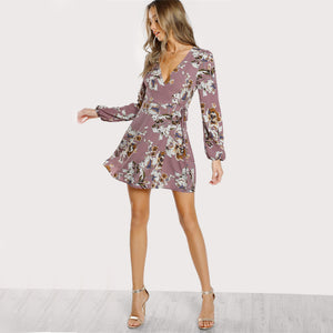 Surplice Wrap Floral Multicolor A Line  Dress Deep V Neck Long Sleeve