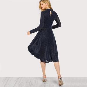 Navy Long Sleeve Mock Neck Glitter Fit abd Flare Dress Stand Collar Elegant