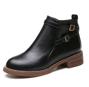 New Fashion Ankle Boots Flats Round Toe Back Zip PU Leather Martin Shoes