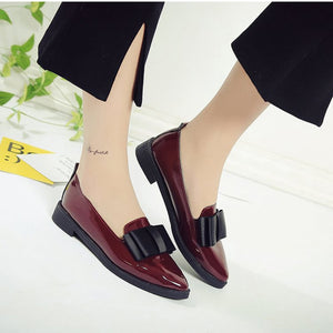 Autumn Flats Women Oxford Shoes Bowtie Loafers Slip On Pointed Toe