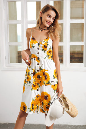 Strap V Neck Sunflower Print Backless Vestidos Smocking High Waist Dress