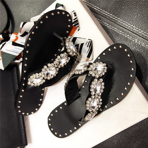 Hot Sale Rhinestone Top Quality Shoes Women Sandals New Leisure Flip Flops Flat Summer beach