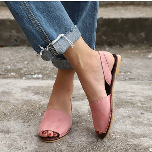 Summer Sandals Women Flats Casual Peep Toe Suede Slip On Elastic Band Leisure Solid Footwear