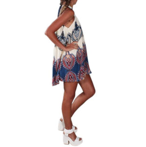 Vestidos Boho Printed Halter Style Sleeveless Beige Beach Party Mini Dress