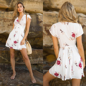 Women Short Sleeve Mini Dress Casual Party Evening V Neck Dresses